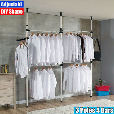Telescopic Movable Garment Rail DIY Coat Hanger Clothes Wardrobe 3 Poles 4 Bars