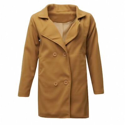 Women Warm Double Breasted Wool Blend Lapel Mid Trench Coat 6A