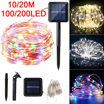 100/200LED Solar String Lights Waterproof Copper Wire Fairy Outdoor Garden Xmas