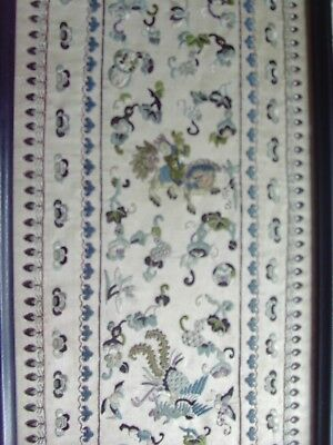 Antique - Beautiful  Embroidered Silk  Picture  Original Frame  Possibly Chinese