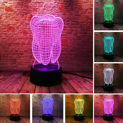 Dentist Clinic Tooth Teeth Gift 3D 2D Neon LED Sign Lamp Light Luminous Illusion