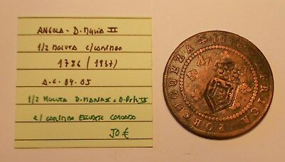 portugal - portuguese angola 1/2  macuta 1786 with countermark 1837 - good coin