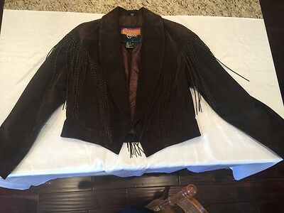 Cripple Creek Large Chocolate Brown Suede Womens Coat Fringe Fully LIned