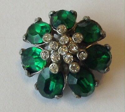 Vintage Art Deco Green And Clear Rhinestone Fur Clip Brooch