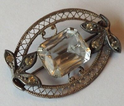 Vintage Art Deco Clear Rhinestone Brooch