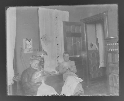 """Antique/Vintage 4"""" x 5"""" Glass Plate Negative - Two Women Sewing in the Parlor"""