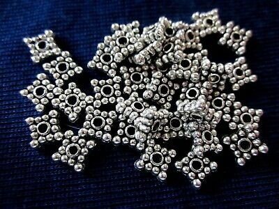 50 Antique Silver Coloured 5mmx5mm 4-Point Spacer Beads (1mm Hole) #sp2143 Craft