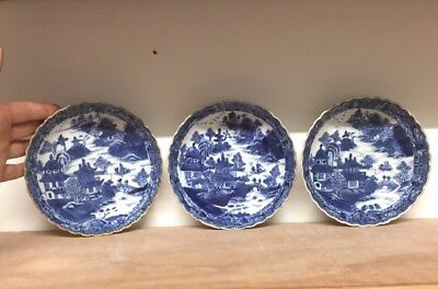 3 Fine 18Th Century Fluted Porcelain Dishes