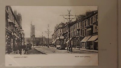 Postcard of Hartlepool. Old vintage cards. Church At. B/W Tram