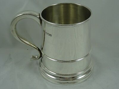 QUALITY `QUEEN ANNE` style, solid silver TANKARD, 1937, 371gm