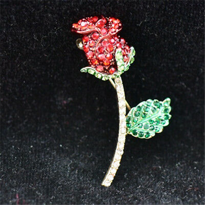Antique jewelry pin crystal enamel decorated roses top grade brooch