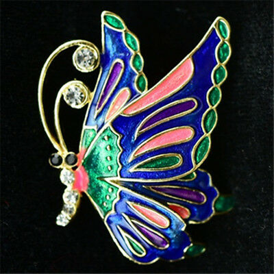 Antique Jewelry Pins Crystal Enamel Jewelry Colorful Butterfly Upscale Brooch