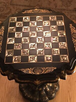 Antique Victorian Papier-Mache Black and Gold Gilded Side Table
