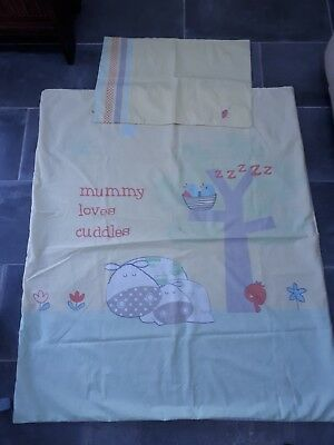 Mothercare Baby toddler duvet cover and pillowcase unisex 1x1.2m