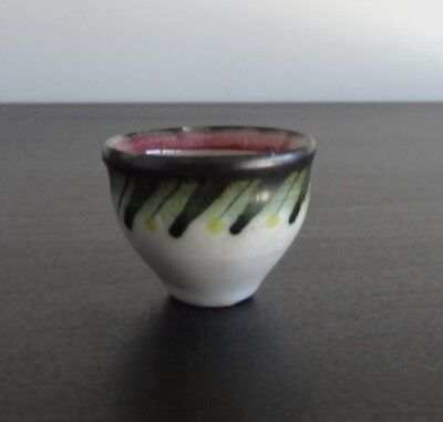 Stunning hand painted miniature Rye Pottery bowl 1950 s abstractdesign