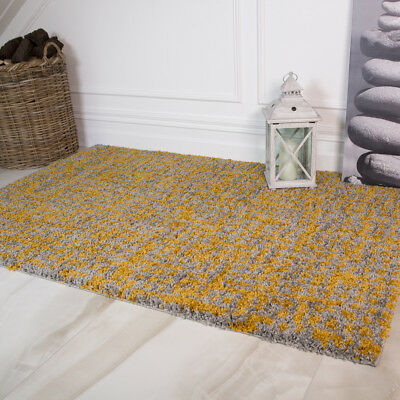 Modern Thick Ochre Yellow Shaggy Rugs Soft Non Shed Textured Living Room Rugs UK