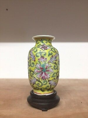 Good Miniature Antique Chinese Vase With Stand No Damage