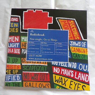 """Radiohead 'Hail To The Thief ' Double Sided Display Promo Card Flat 12"""" x 12"""""""