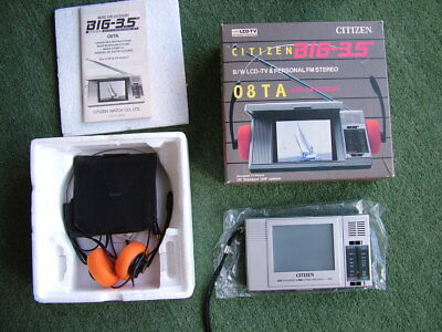 Vintage Citizen LCD Pocket TV/Radio Walkman 08TA Boxed Perfect!