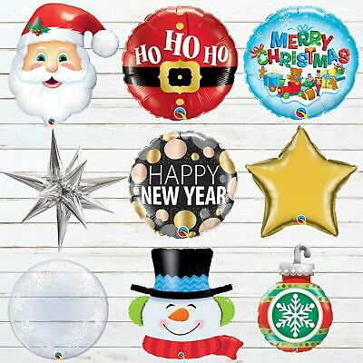 Christmas Balloons Foil Bubble Party Decorations Qualatex Air Helium Large Xmas