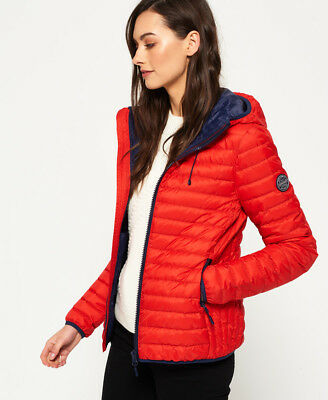 New Womens Superdry Core Down Hooded Jacket Red