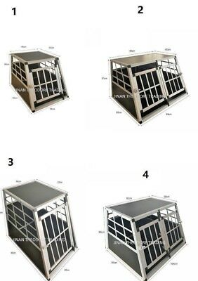 Dog Pet Puppy Aluminium Cage Transport Crate Car Travel Carrier Box Kennel -UK