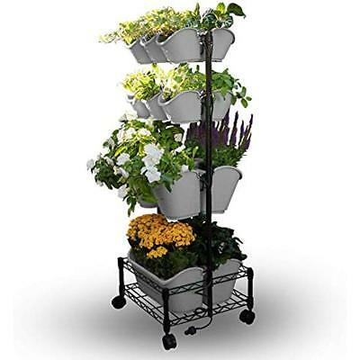 Watex Mobile Vertical & Wall Planters Green Wall- Double Frame (Cool Grey)