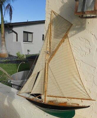 Huge Vintage Wooden Half Hull Schooner Ship Wall Model
