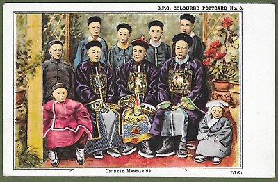 Chinese Mandarins. Superb Coloured Postcard circa Early 1900. Top Condition.