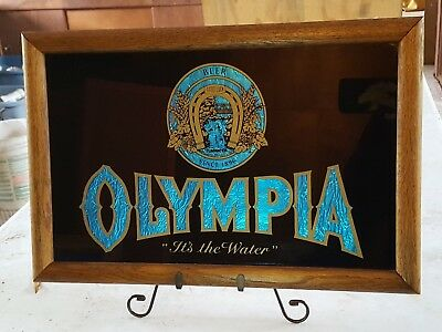 Vintage Olympia Beer Bar Tavern Framed Sign It's The Water Blue Foil Horseshoe