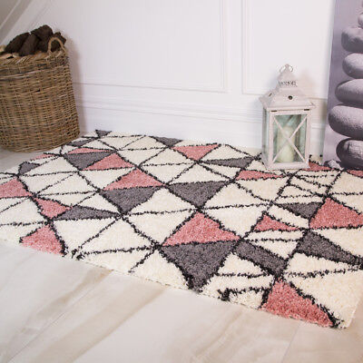 Modern Blush Pink Shaggy Rugs Non Shed Cosy Geometric Small Large Carpet Rug UK