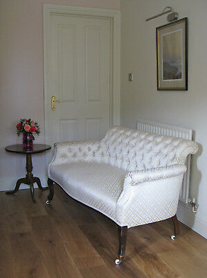 Late Victorian or Edwardian Button-Upholstered Salon Settee on Original Casters