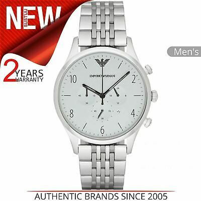 Emporio Armani Classic Men's Watch AR1879│Chronograph Silver Dial│Stainless Band