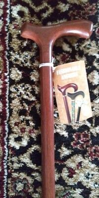 New Exquisite Men's Solid Wooden Walnut Finish Fritz Handle Walking Cane 38.5""