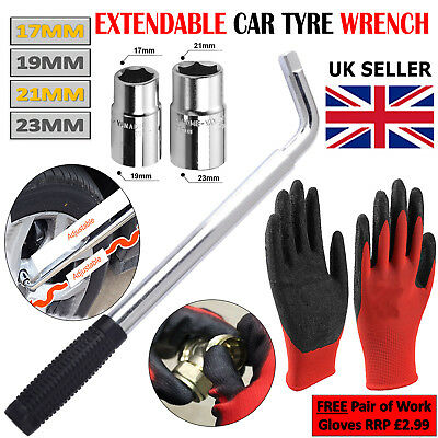 Extendable Wheel Brace Wrench Car Van Socket Tyre Nut 17 19 21 & 23mm + Gloves