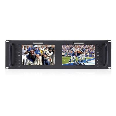 """Feelworld D71 Dual 7"""" IPS Broadcast Rack Mount Monitor with SDI & HDMI In/Output"""