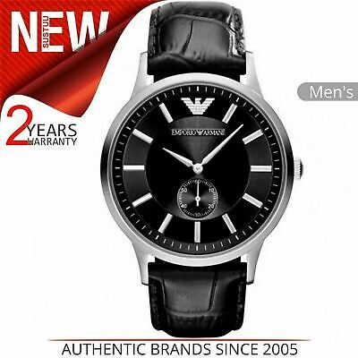 Emporio Armani Classic Men's Watch¦Stainless Black Dial & Leather Strap¦AR9100