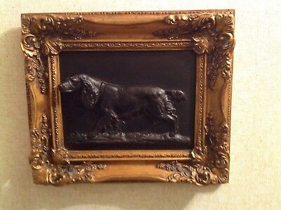 Wow Antique Gold Gilt Framed Irish Setter Hunting Dog 3 Dimensional