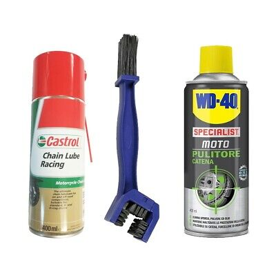 KIT Pulizia catena Pulitore catena WD-40 + Chain lube Racing Castrol + Spazzola