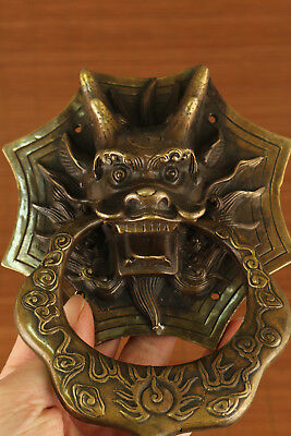 rare old Chinese bronze Ancient Valuable Door holder big dragon statue home deco