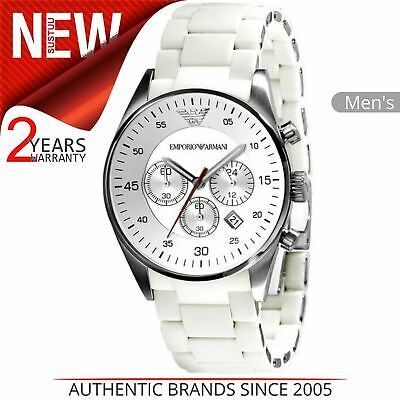 Emporio Armani Men's Watch¦Chronograph Dial¦White Silicone Bracelet Band¦AR5859