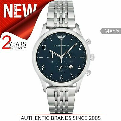 Emporio Armani Classic Men's Watch AR1942¦Chronograph Blue Dial¦Stainless Strap