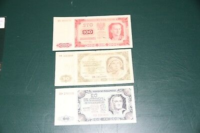 POLAND 20, 50, 100 Zlotych 1948 - 3 Banknotes.