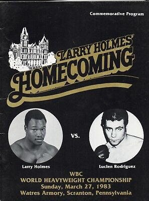 WORLD HEAVYWEIGHT TITLE: LARRY HOLMES V LUCIEN RODRIGUEZ Free post in UK