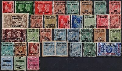 Morocco Agencies  British Colony Collection Of 34 Different Old Used Stamps