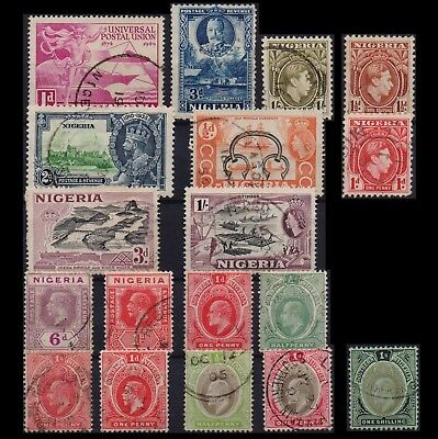Nigeria & Southern  British Colony Collection Of 18 Different Old Used Stamps