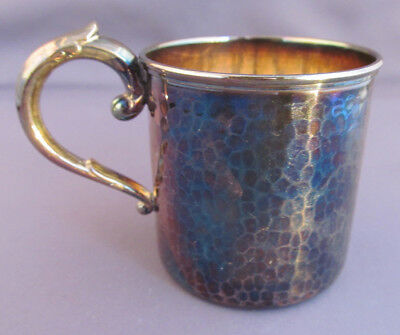 HEAVY ANTIQUE VINTAGE SOLID 950 STERLING HAMMERED CHILD'S BABY CUP GOBLET 64.4g
