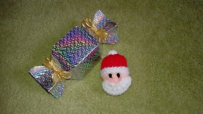 Hand knitted Santa Badge (Father Christmas) with gift box