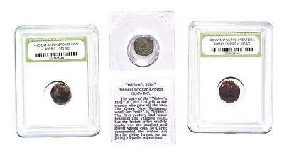 3 Ancient Coins Before - After Jesus Bible Widows After Constantine The Great