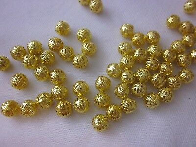 30 Gold Coloured 8mm Filigree Spacer Beads #sp3341 Jewellery Making Beading